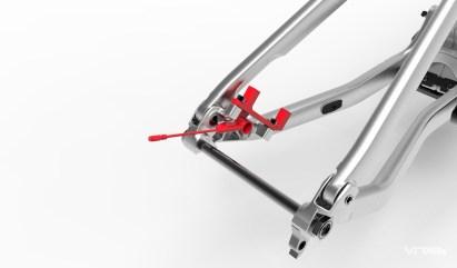 Commençal a pour habitude de fixer l'étrier de frein sur la base. La vue 3D révèle un support de frein spécifique qui permet aussi d'y fixer le capteur.