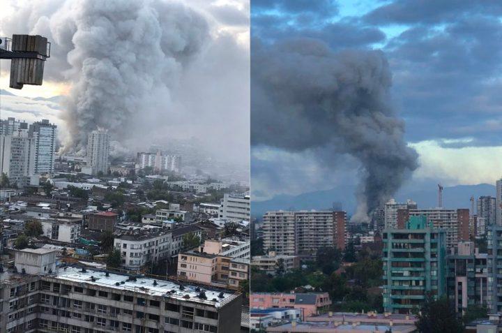 Enorme incendio se registra en el Hospital San Borja Arriarán en Santiago de Chile