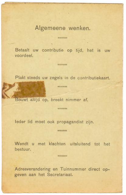 Contributiekaart jaren 40/50