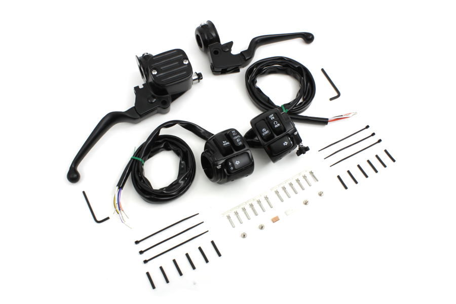 Handlebar Control Kit with Switches Black fits Harley