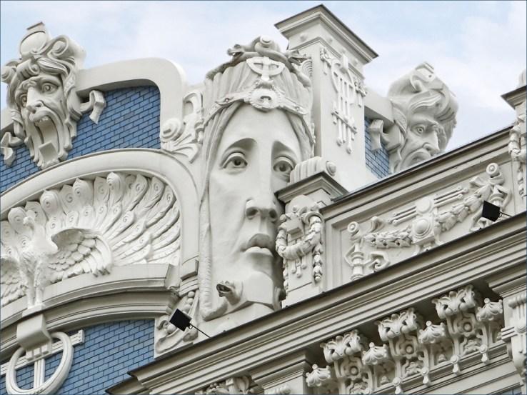 Jugendstil. Ejemplo de arquitectura Art Nouveau en Riga. Nº 10 de la Av. Elizabeth- Foto:Jean-Pierre Dalbéra , CC BY 2.0