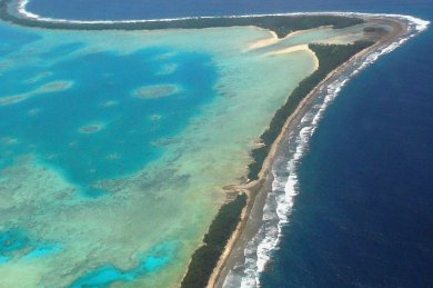 Funafuti desde el aire. Imagen: Imagen: Department of Foreign Affairs and Trade , CC BY 2.0