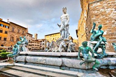 La Fuente de Neptuno en Piazza della Signoria, Florencia