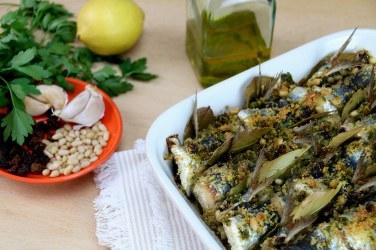 """""""Sarde a Beccafico"""", sardinas."""