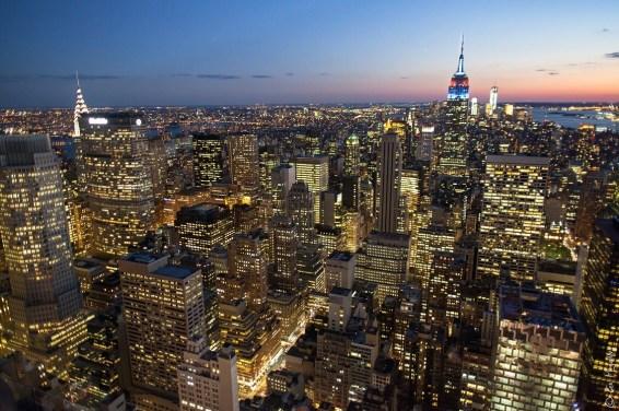 Vista de Nueva York y Empire State Building desde el Top of the Rock, Rockfeller Center.