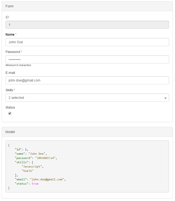 Vue js Form Generator - Vue js Script