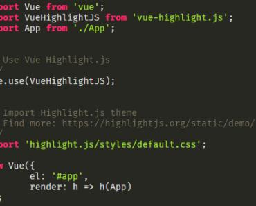 Vue Highlight.js Component