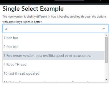 Single Select Dropdown With Autocomplete - vue-single-select
