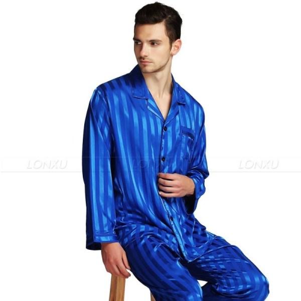 Mens Silk Satin Pajamas Set Striped Black