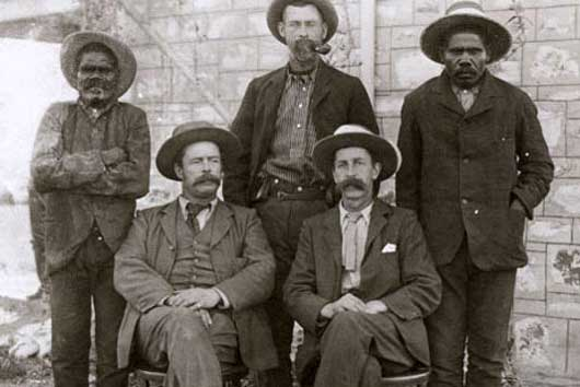 Frank Gillen and Baldwin Spencer, seated front. Alice Springs.