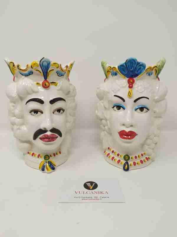 Coppia Teste di Moro in Ceramica di Caltagirone