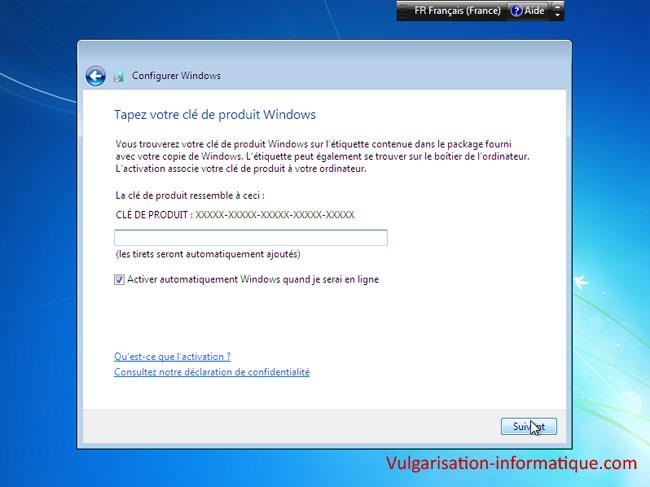 installez la clé de produit Windows 7 Home Premium