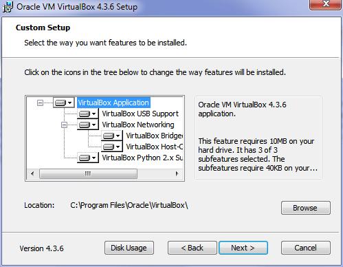Choix du répertoire d'installation et des options