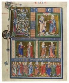Ein Ausschnitt aus dem bunt illuminierten Mainzer Evangeliar, entstanden um 1250 AD