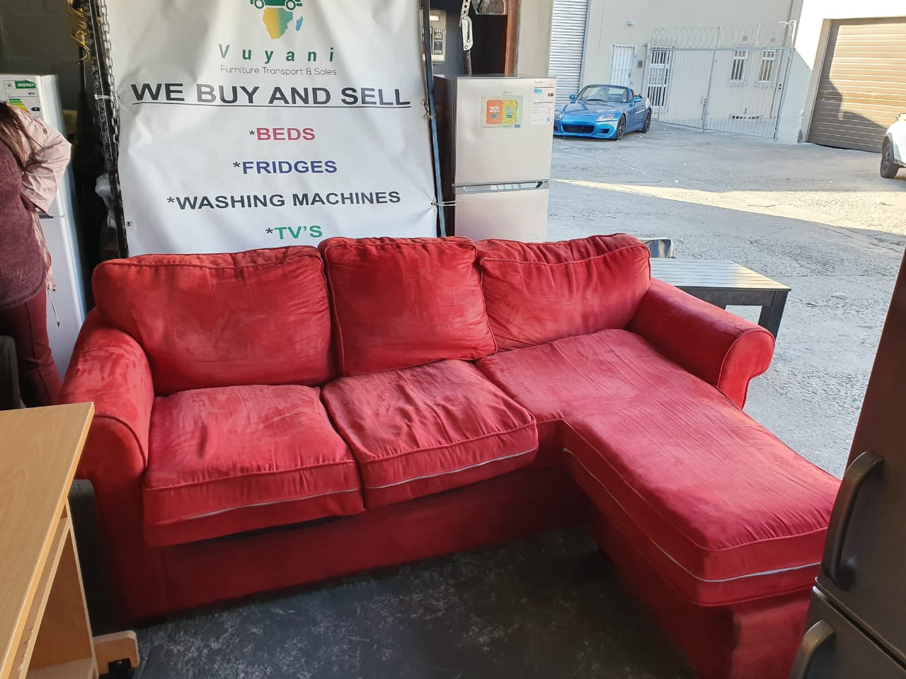 red l shaped couch