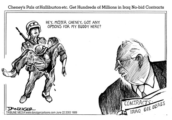 Dick Cheney, US soldiers, and Iraq war, cartoon