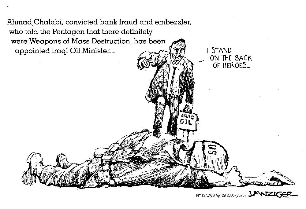Ahmed Chalabi and Iraqi oil, cartoon