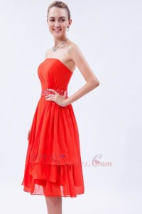 Wholesale Orange Red Bridesmaid Dress With Sash