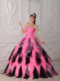 Hot Pink And Black Ombre Skirt Lovely Quince Dress Gowns