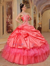 Coral Red And Hot Pink Quinceanera Dress With One Shoulder ...