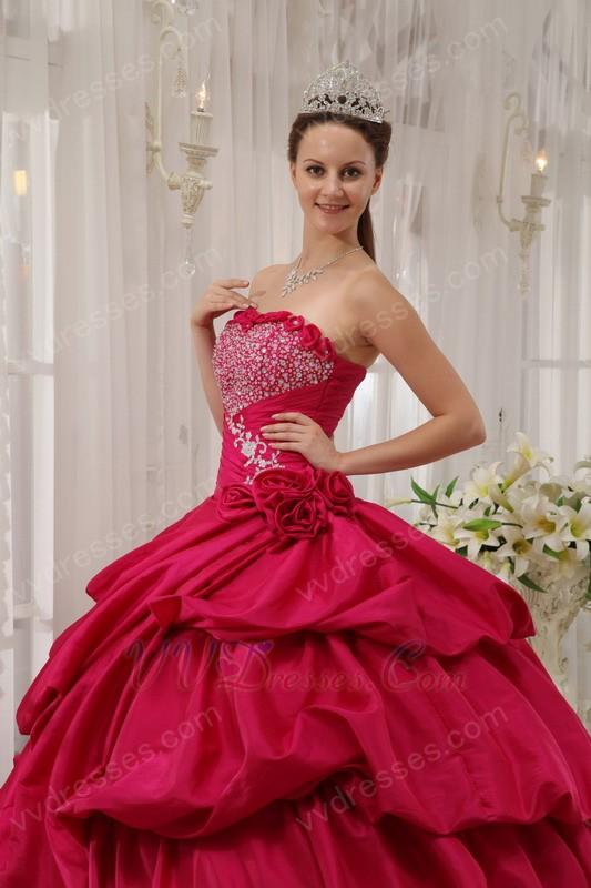 Deep Rose Pink Puffy Skirt Princess Ball Gown Prom Dress