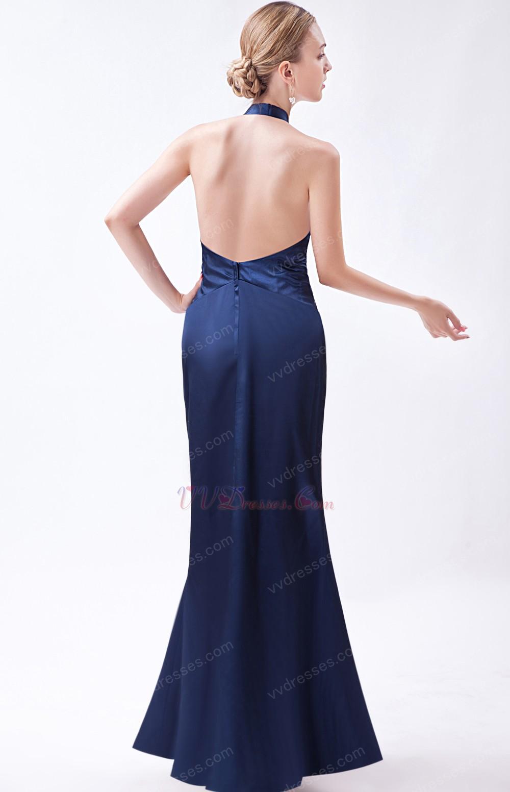 Halter Navy Blue Formal Evening Dress For Juniors