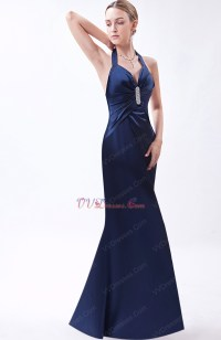 Halter Navy Blue Formal Evening Dress For Juniors