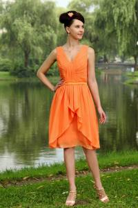 Outdoor Wedding Party Orange Bridesmaid Dress 2014