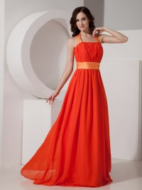 Orange Red Halter Long Chiffon Dress For Prom Party Wear
