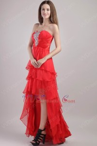 Sweetheart High-low Red Organza Crazy Prom Dresses With ...