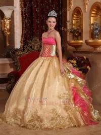 Embroidery Corset Gold Quinceanera Dress With Ruffled Back ...