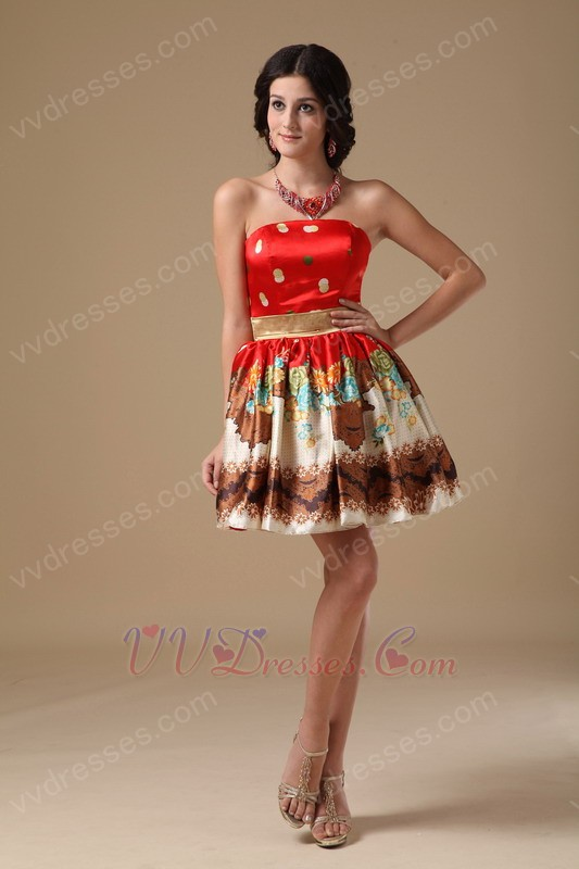 Colorful Printed Fabric Girl Sweet Sixteen Prom Dress