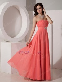 Watermelon Corset Back Bridesmaid Dress For Wedding Party