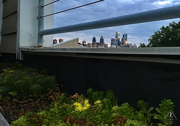 AirBnB Rooftop and Skyline of Philadelphia, Pennsylvania.