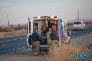 The male driver of the Chevy was still in a work uniform when the accident occurred. (Gabriel D. Espinoza, Victor Valley News)