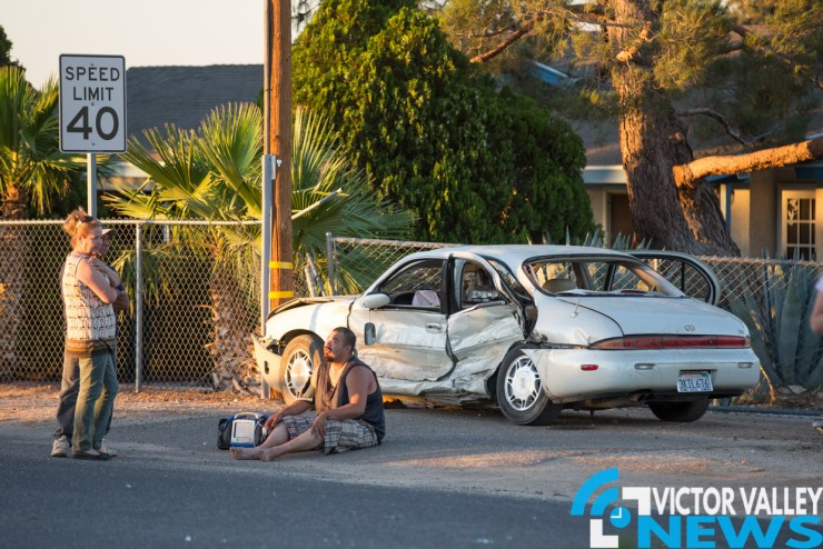 The crash temporarily closed the intersection of Eucalyptus and Fifth Avenue. (Hugo C. Valdez, Victor Valley News)