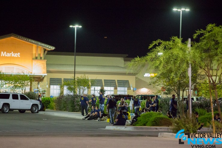The Hesperia Walmart was evacuated following an alleged bomb threat Monday night. (Gabriel D. Espinoza, Victor Valley News)