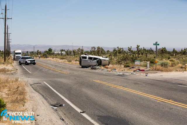 A woman was ejected and seriously injured. Her daughter was also injured in the rollover crash. (Gabriel D. Espinoza, Victor Valley News)
