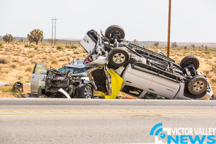 The couple were passengers in the backseat of the Camry was that was rear-ended by a semi truck. (Gabriel D. Espinoza, Victor Valley News)