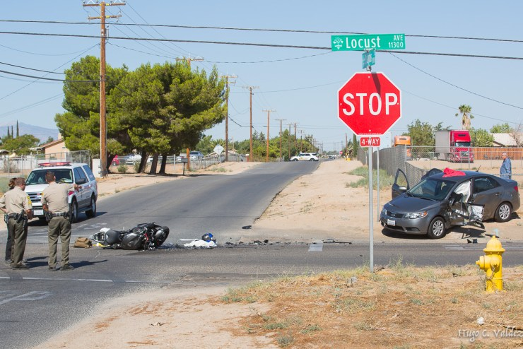 An unconscious male motorcyclist was taken to a local hospital following a crash in Hesperia. (Hugo C. Valdez, Victor Valley News)
