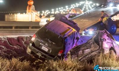 A woman died following a crash on the 15 Freeway. (Gabriel D. Espinoza, Victor Valley News)