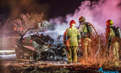 Two people died following a fiery three-vehicle crash on Palmdale Road in Phelan. (Gabriel D. Espinoza, VVNG.com)