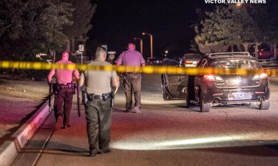 Authorities taped off a stretch of Kemper Ave following a Deputy-involved-shooting. (Gabriel D. Espinoza, Victor Valley News)