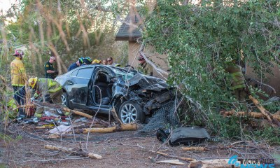 The jaws of life were used to free the trap driver. (Hugo C. Valdez, Victor Valley News)