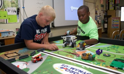 Two members of Yucca Loma Elementary School's TechnoFrogs team preparing for the 2017 tournament. (submitted photo)