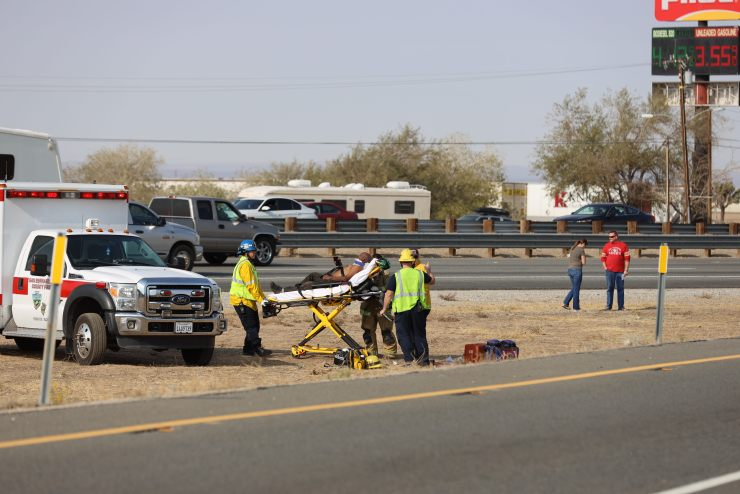 A man from a second crash half-mile apart from the first crash was airlifted to a trauma center. (Gabriel D. Espinoza, Victor Valley News)