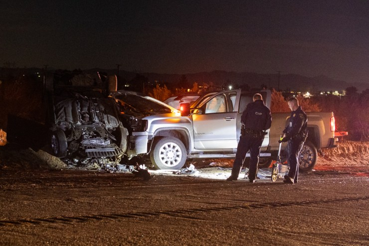 One person was killed and four others were injured after a head-on crash on Palmdale Road Tuesday night. (Gabriel D. Espinoza, Victor Valley News)