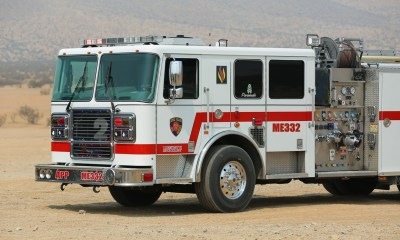 Undated File Photo of an Apple Valley fire engine in the desert. (Gabriel D Espinoza, Victor Valley News)