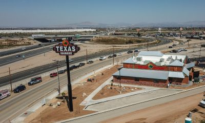 (Undated VVNG drone photo of Texas Roadhouse in Hesperia)