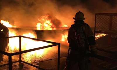 San Bernardino County Firefighters knocked down a fire at a manufacturing warehouse in Adelanto Saturday night.